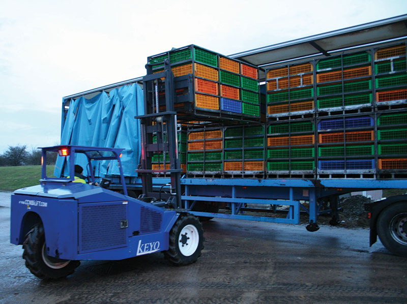 Forklift specially designed for poultry live haul farming - Side