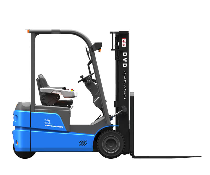 Three wheel sit down electric pneumatic forklifts - Side