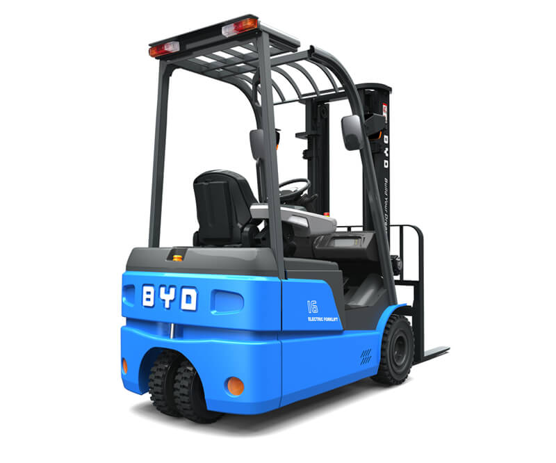 Three wheel sit down electric pneumatic forklifts - Side/Back