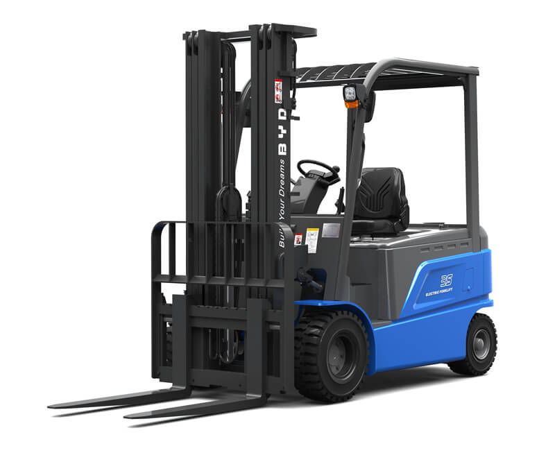 Four wheel sit down electric pneumatic forklifts - Side/Front